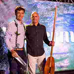 Kelly Slater introducing Dirk Ziff (owner of the WSL).